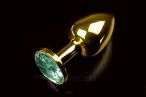 Маленькая золотистая анальная пробка с круглым кончиком и кристаллом - 7 см